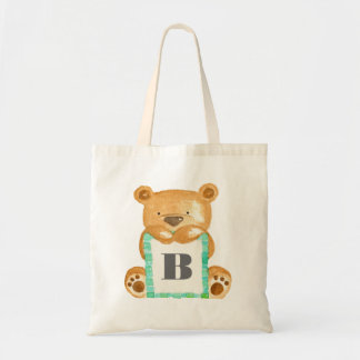Sac personnalisé d'ours de nounours d'aquarelle de
