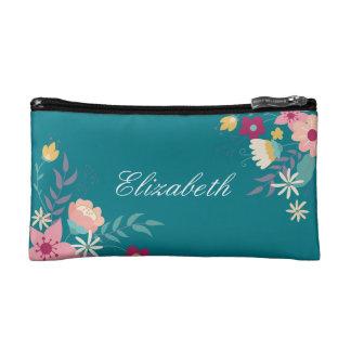 Sac personnalisé floral de maquillage de sac à