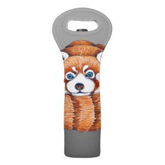 Sac Pour Bouteilles De Vin Petit panda rouge sur le gris