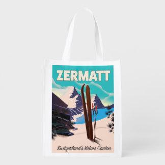 Sac Réutilisable Affiche de vacances de ski de Zermatt