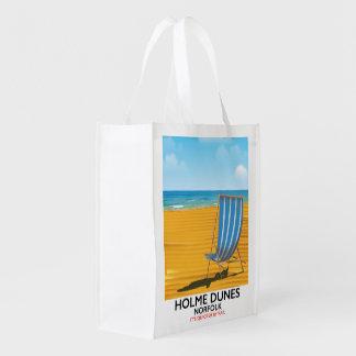 Sac Réutilisable Affiche de voyage de la Norfolk de dunes de Holme