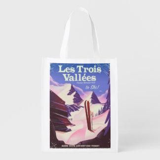 Sac Réutilisable Affiche de voyage de ski de Les Trois Vallées