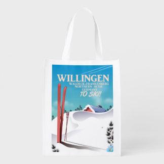 Sac Réutilisable Affiche de voyage de ski de Willingen