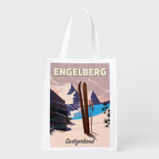 Sac Réutilisable Affiche de voyage de ski d'Engelberg Suisse