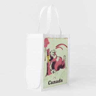 Sac Réutilisable Affiche vintage de voyage de castor du Canada