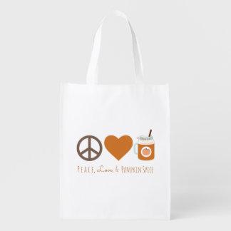 Sac Réutilisable Amour de paix et sac d'automne d'épice de