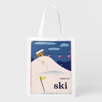 Sac Réutilisable apprenez à skier bande dessinée vintage