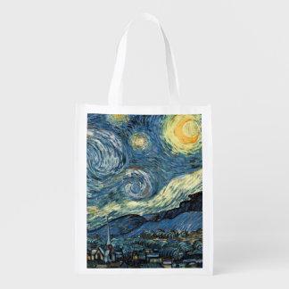 Sac Réutilisable Art célèbre, nuit étoilée par Vincent van Gogh.