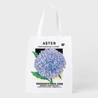 Sac Réutilisable Art vintage de paquet de graine, fleurs pourpres