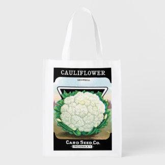 Sac Réutilisable Art vintage d'étiquette de paquet de graine,
