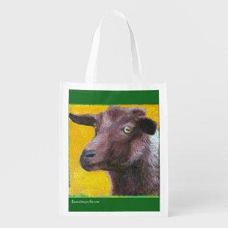 Sac réutilisable avec la chèvre brune