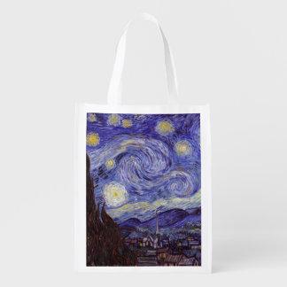Sac Réutilisable Beaux-arts de cru de nuit étoilée de Vincent van