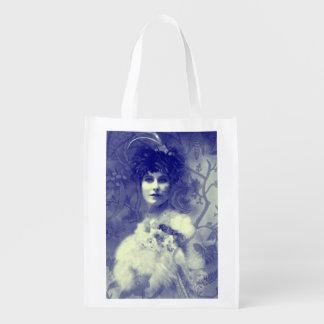 Sac Réutilisable Belle femme de photo vintage, bleue