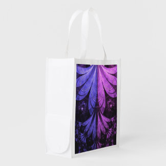 Sac Réutilisable Belles plumes bleues et Lilas-Violettes de