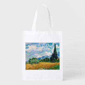Sac Réutilisable Champ de blé avec des cyprès par Vincent van Gogh