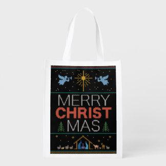 Sac Réutilisable Chandail laid de Noël - Knit de mamie - chrétien