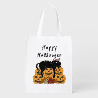 Sac Réutilisable Chat noir et citrouilles de Halloween