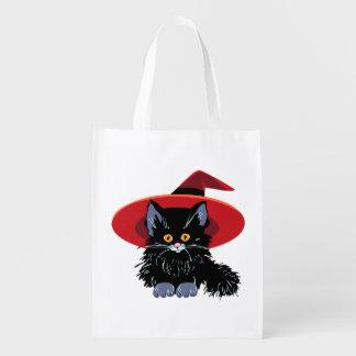 Sac Réutilisable Chat noir heureux de Halloween