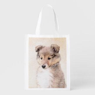 Sac Réutilisable Chiot de chien de berger de Shetland