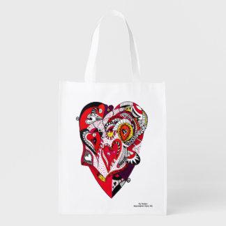 Sac Réutilisable Coeur rouge, noir et blanc de stylo et d'encre