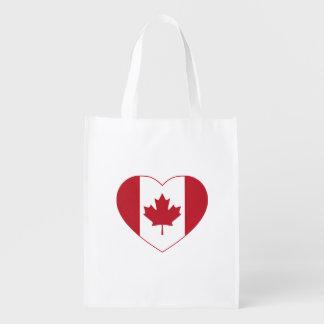 Sac réutilisable de coeur de drapeau du Canada Sac Réutilisable D'épcierie