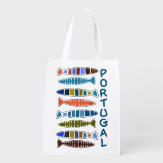 Sac réutilisable de motif de poissons du PORTUGAL Sacs D'épicerie Réutilisables
