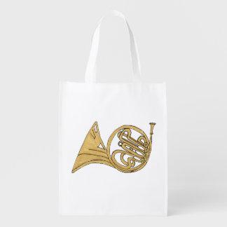 Sac Réutilisable Dessin d'instrument de cor de harmonie