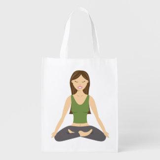 Sac Réutilisable Femme de yoga dans la pose de Lotus