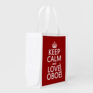 Sac Réutilisable Gardez le calme et aimez le hautbois (toute