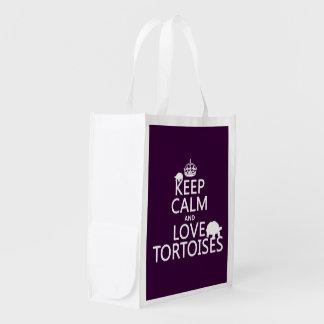 Sac Réutilisable Gardez le calme et aimez les tortues (toute