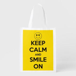 Sac Réutilisable Gardez le calme et souriez sur le jaune et le noir