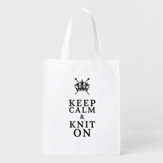 Sac Réutilisable Gardez le Knit calme sur des métiers