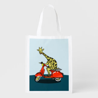 Sac Réutilisable Girafe montant un scooter rouge