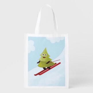 Sac Réutilisable Hiver heureux de ski de pin