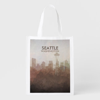 Sac Réutilisable Horizon de Seattle, Washington EN NUAGES