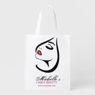 Sac Réutilisable Icône de maquillage de cils de lèvres rouges de
