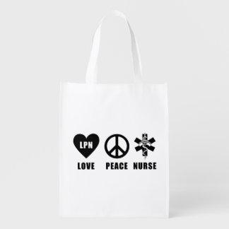 Sac Réutilisable Infirmière de paix d'amour de LPN