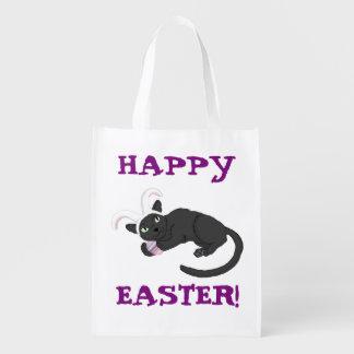 Sac Réutilisable Joyeuses Pâques ! sac de lapin de Chat-baie