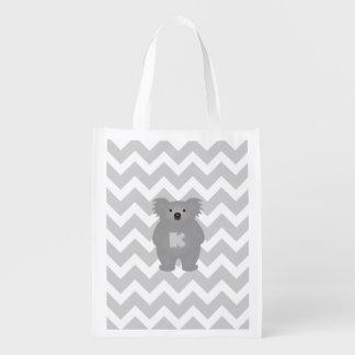 Sac Réutilisable Monogramme mignon d'ours de koala de bébé de