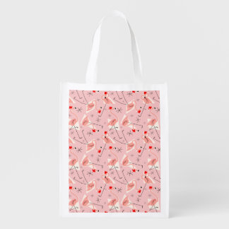 Sac réutilisable multi rose de Santa de flamant