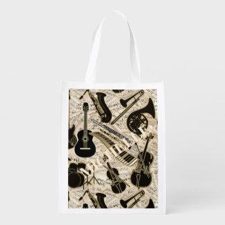 Sac Réutilisable Musique de feuille et noir d'instruments/or ID481
