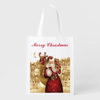 Sac Réutilisable Noël ou vacances - épicerie, cadeau, sac de faveur