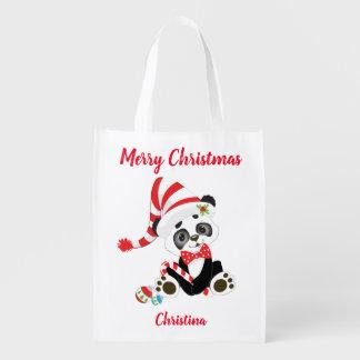Sac Réutilisable Panda mignon de Joyeux Noël