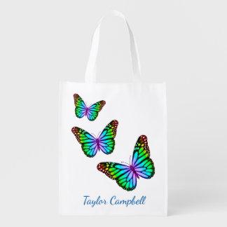 Sac Réutilisable Papillons colorés d'arc-en-ciel