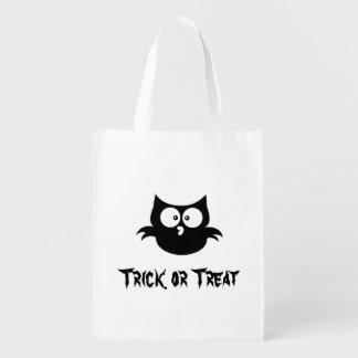 Sac Réutilisable Petit hibou noir éffrayant mignon de Halloween