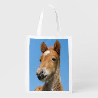 Sac Réutilisable Photo islandaise mignonne d'avant de tête de poney