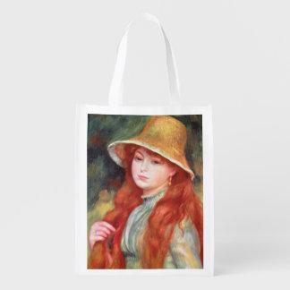 Sac Réutilisable Pierre une jeune fille de Renoir   dans un chapeau