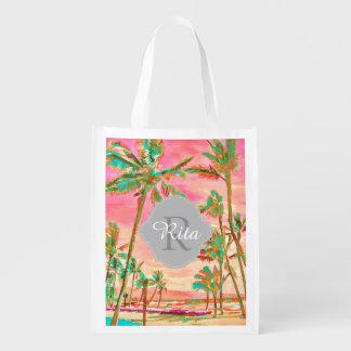 Sac Réutilisable Plage hawaïenne vintage/rose de PixDezines