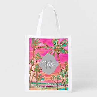 Sac Réutilisable Plage hawaïenne vintage/rose/Teal de PixDezines