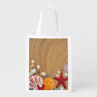 Sac Réutilisable Plage sablonneuse d'étoiles de mer de coquillages